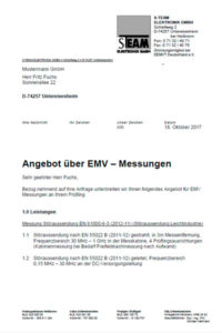 Angebot für EMV-Messungen